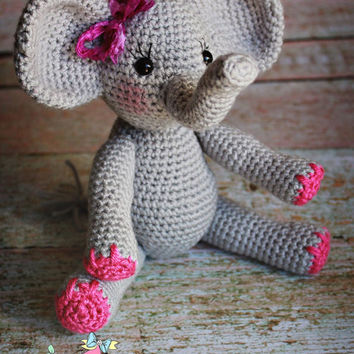 Made to order Crochet elephant doll from RoseMariePhotoProps on