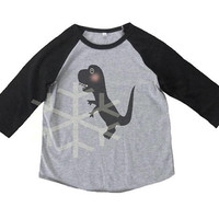 Dinosaur shirt toddler funny shirt- 3/4 sleeve tshirt -Child shirt -Raglan shirt- Baseball tshirt -Kids tshirts