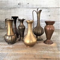 Brass Vase 6 Brass and Copper Vases Etched Brass Vase Brass Bud Vases Brass Pitchers Small Brass Vases Lot of 6 Vases Brass Wedding Decor