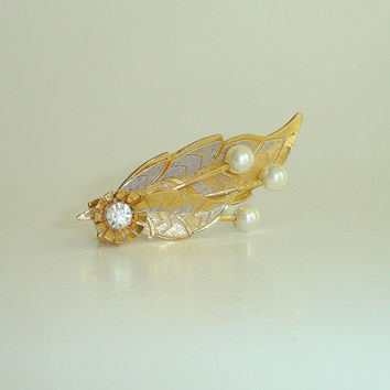 Vintage Hair Clip, Gold Leaf with Pearl and Rhinestone, Bridal Wedding Barrette, Special Occasion Prom Hair Accessory, Great Gatsby Style