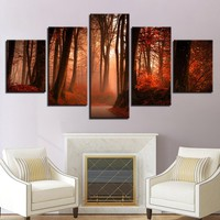 Canvas Printing Pictures Home Decor 5 Pieces Autumn Forest Natural Landscape Frame Paintings Modular Living Room Wall Art Poster