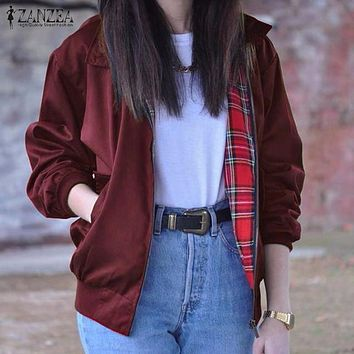 ZANZEA Women's Casual Vintage Tartan Zippered Bomber Jacket/Coat