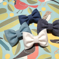 Blue, grey and winter white Seaside Sparrow hair bow lot. Urban Outfitters and Brandy Melville inspired colors.