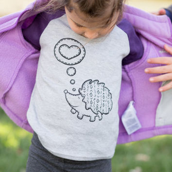Hedgehog Love.Kids Tshirt.Boys Tee.Girls Shirt.Unisex Screen print tee.Toddler Shirt. Kids T-Shirt
