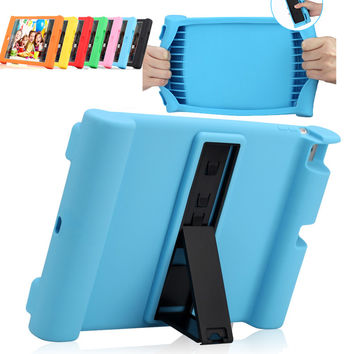 Soft silicone cover case for Apple iPad 2 /3 / 4 iPad2 iPad3 iPad4 tablet stand cover shockproof drop resistance protective case