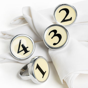 Vintage Numerals Napkin Ring Set - Numerals 1 2 3 4 (FINAL SALE)