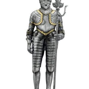 Medieval Knight in Tasset Armor and Partisan Weapon Figurine 11.75H
