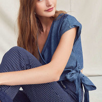Urban Renewal Remade Cropped Denim Wrap Top | Urban Outfitters