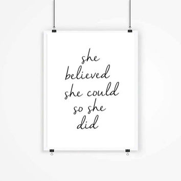 Girls poster print, quote poster, Typography art Home decor words,inspirational She Believed She Could So She Did Girl Room Decor Typography