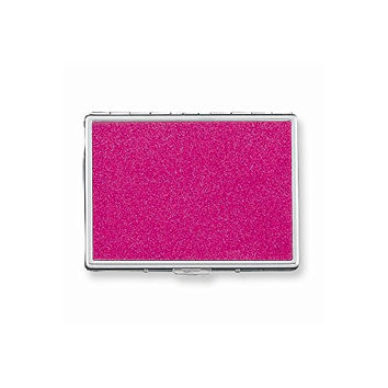 Fuchsia Glitter (Holds 9-100mm) Cigarette/Card Case with Mirror