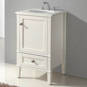 21-inch Single Bathroom Vanity Set with Off-White Marble Top