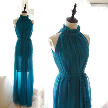 Goddess Ruffle High Collar Teal Green Maxi Long Gown Dress + Sash Bow Bowknot Keyhole Back ,Beach Wedding Beautiful Romantic,Women's