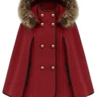 Red Ladies Cute Warm Winter Tweed Poncho Hooded Pea Coat - MelodicDay