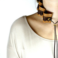 Unique design leather lace collar, leather lace necklace, leather accessories for women, leather jewelry, wedding