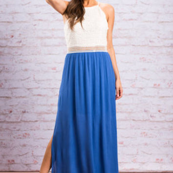 Significantly Sweet Maxi Dress, Ivory-Ice Blue