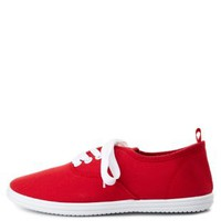 Red Lace-Up Canvas Sneakers by Charlotte Russe