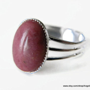 Rhodonite Natural Stone Ring 14x10mm Silver Plated Adjustable Ring