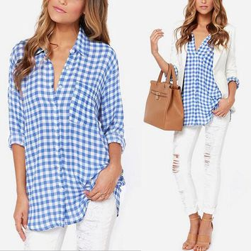 Plaid Long Sleeve Slim Blouse