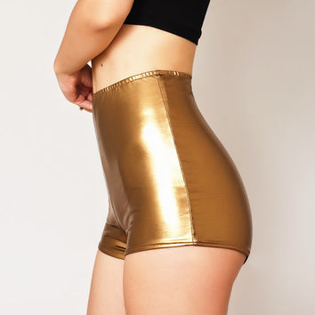 High Waisted Metallic Gold Shorts. Low Rise Metallic Hot Pants. Dancer shorts. Party, tight, spandex, wet look, booty shorts. Spandex shorts