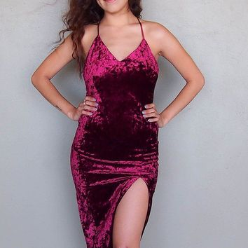 Made You Wink Crushed Velvet Deep Red Midi Dress