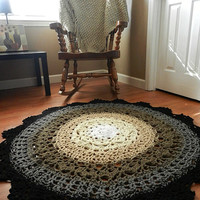 Ombre Lace Crochet Doily Rug, French Country Decor Shabby Black and White Neutral Rug, Living Room Nursery Bedroom Carpet, Rustic Area Rug