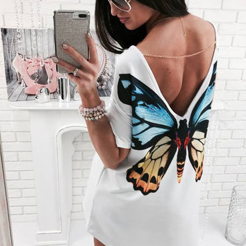 Back Butterfly Print Casual White Dress