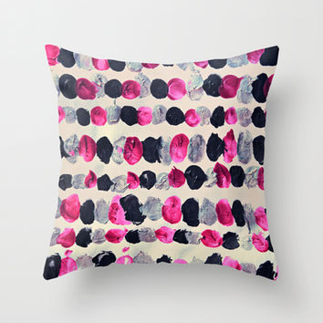 Beads of Black, Pink & Silver - abstract painting Throw Pillow by TigaTiga Artworks | Society6