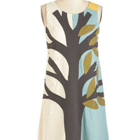 Heel Athens Lab Quirky Mid-length Sleeveless Shift Wild and Tree Dress