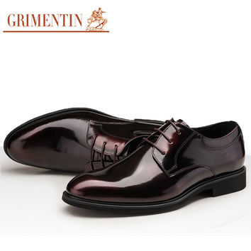 patent leather men shoes handmade lace up black brown business wedding designer male shoes men