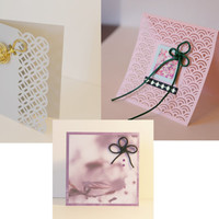Japan inspired blank colorful greeting card set of 3 - hollow ocean waves with knots and washi accents –Lace X Knot
