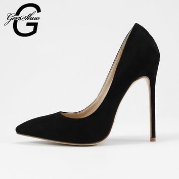 GENSHUO Shoes Women 8 10 12 cm Pointy Stiletto Heels Pumps Ladies Black Stylish Extra High Heel Shoes Sapato Feminino