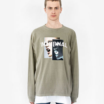 Internal Scream Long-Sleeve Tee in Faded Khaki