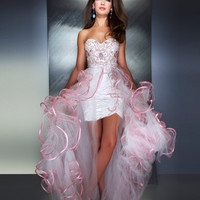 Mac Duggal Prom 2013- White And Pink Gown With Short Skirt And Ruffle Train - Unique Vintage - Cocktail, Pinup, Holiday & Prom Dresses.