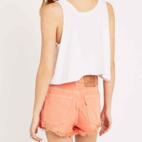 Urban Renewal Vintage Customised Raw Cut Shorts in Coral - Urban Outfitters