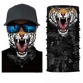 Mr.Kooky 3D Animal Face Mask Headwear Men's Cool Magic Ring Headscarf Scarves Neckerchief Coif Sun Protection Motorcycle Bandana