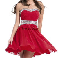 red chiffon prom dresses on sale / latest short homecoming gowns with rhinestone / unique dress for holiday party cheap