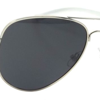 Retro Aviator Polarized Sunglasses Stage Pilot Classic Spring Hinge Smoke Lens