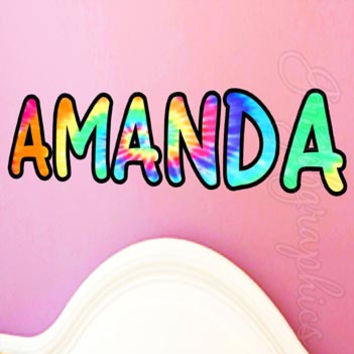 Wall Decals Tie Dye Wall Hanging Personalized Monogram Custom Name Sticker TN5