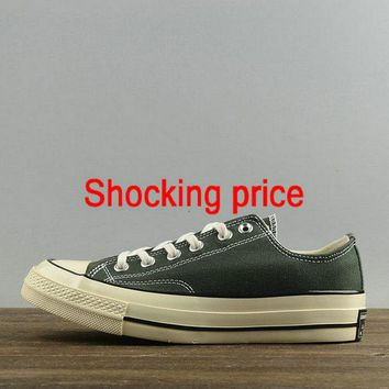 Genuine Unisex Converse Chuck Taylor All Star 1970s Low Blackish Green White 144765 sneaker