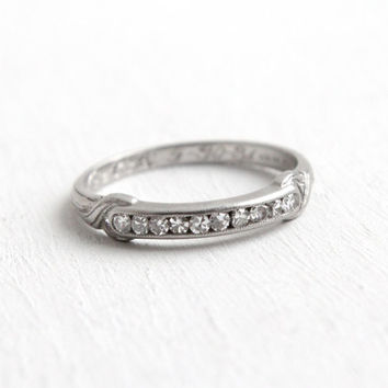 "Antique ""1934"" Platinum Diamond Wedding Band Ring- Vintage Size 6 Art Deco 1930s Dated Wedding Bridal Fine Jewelry"
