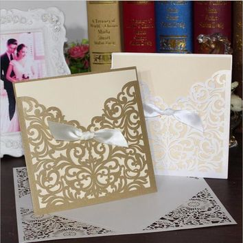 25pcs Vine Laser Cut Hollow Wedding Invitations Card & Ribbon for Engagement Baby Shower Birthday Souvenirs Party Supplies
