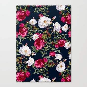 Vintage Roses on Darkblue Canvas Print by VS Fashion Studio