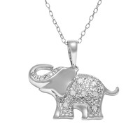 Sterling Silver 1/10-ct. T.W. Diamond Elephant Pendant (Grey)