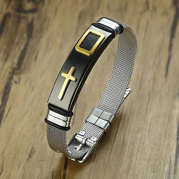 Cross Bracelets for Women Men with Leather Chip Adjustable Stainless Steel Mesh Watch Band Unisex Jewelry