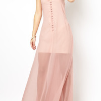 Pink Blush Sleeveless V Neck Maxi Dress