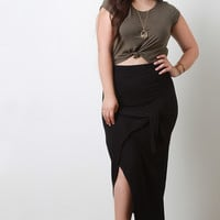 Rib Knit Tied Sash Maxi Skirt