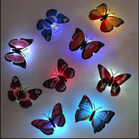 3D Butterflies LED Night Light Wall Stickers Muraux DIY Removable Wall Decal For Baby Kids Room Home Decor Lamp with Suction Pad