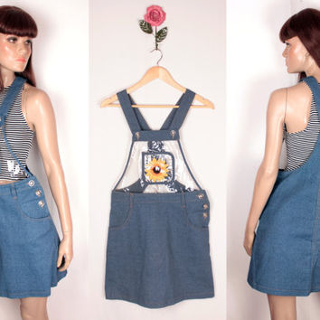 90s denim overall skirt // sheer bust // sunflower