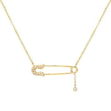 Safety Pin Diamond Necklace 14KT