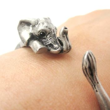 3D Baby Elephant Wrapped Around Your Wrist Shaped Bangle Bracelet in Silver